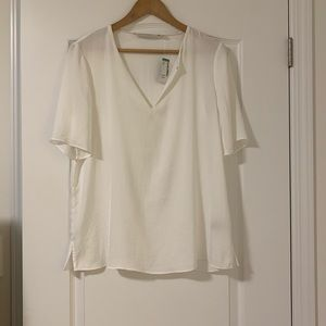 Simons short sleeve white satin blouse